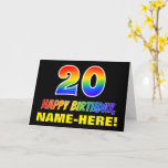 [ Thumbnail: 20th Birthday: Bold, Fun, Simple, Rainbow 20 Card ]