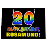 [ Thumbnail: 20th Birthday: Bold, Fun, Simple, Rainbow 20 Gift Bag ]