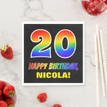 [ Thumbnail: 20th Birthday: Bold, Fun, Simple, Rainbow 20 Napkins ]