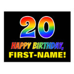 [ Thumbnail: 20th Birthday: Bold, Fun, Simple, Rainbow 20 Postcard ]