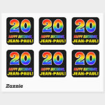 [ Thumbnail: 20th Birthday: Bold, Fun, Simple, Rainbow 20 Sticker ]
