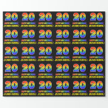 [ Thumbnail: 20th Birthday: Bold, Fun, Simple, Rainbow 20 Wrapping Paper ]