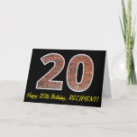 "[ Thumbnail: 20th Birthday - Brick Wall Pattern ""20"" W/ Name Card ]"