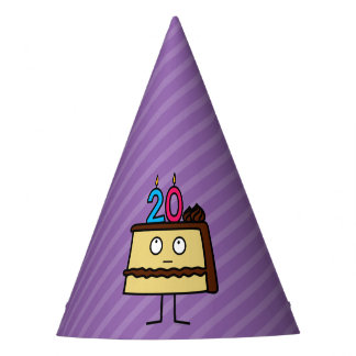 20th Birthday Cake with Candles. Party Hat