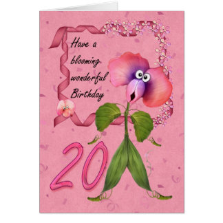 20th Birthday card, moonies cute bloomers Card