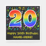 [ Thumbnail: 20th Birthday - Colorful Music Symbols, Rainbow 20 Napkins ]