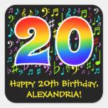 [ Thumbnail: 20th Birthday: Colorful Music Symbols, Rainbow 20 Sticker ]