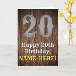 [ Thumbnail: 20th Birthday: Country Western Inspired Look, Name Card ]