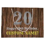 [ Thumbnail: 20th Birthday: Country Western Inspired Look, Name Gift Bag ]