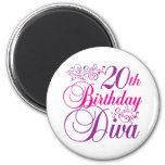 20th Birthday Diva Refrigerator Magnet