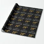 [ Thumbnail: 20th Birthday: Elegant, Black, Faux Gold Look Wrapping Paper ]