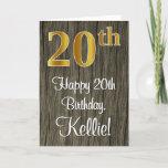 [ Thumbnail: 20th Birthday: Elegant Faux Gold Look #, Faux Wood Card ]