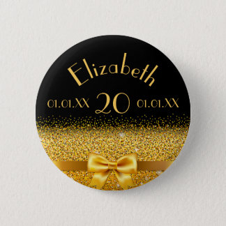 20th birthday elegant gold bow with ribbon black pinback button
