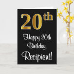 [ Thumbnail: 20th Birthday ~ Elegant Luxurious Faux Gold Look # Card ]