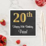 [ Thumbnail: 20th Birthday ~ Elegant Luxurious Faux Gold Look # Napkins ]
