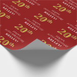 [ Thumbnail: 20th Birthday: Elegant, Red, Faux Gold Look Wrapping Paper ]