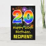 [ Thumbnail: 20th Birthday: Fun Fireworks Pattern + Rainbow 20 Card ]