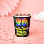 [ Thumbnail: 20th Birthday: Fun Fireworks Pattern + Rainbow 20 ]