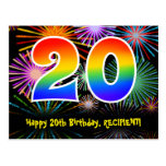 [ Thumbnail: 20th Birthday – Fun Fireworks Pattern + Rainbow 20 Postcard ]