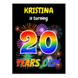 "[ Thumbnail: 20th Birthday - Fun Fireworks, Rainbow Look ""20"" Postcard ]"