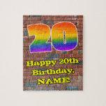 [ Thumbnail: 20th Birthday: Fun Graffiti-Inspired Rainbow 20 Jigsaw Puzzle ]