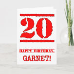 [ Thumbnail: 20th Birthday: Fun, Red Rubber Stamp Inspired Look Card ]