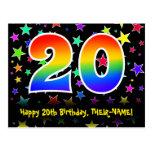 [ Thumbnail: 20th Birthday: Fun Stars Pattern, Rainbow 20, Name Postcard ]