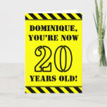 [ Thumbnail: 20th Birthday: Fun Stencil Style Text, Custom Name Card ]