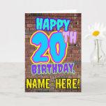 [ Thumbnail: 20th Birthday - Fun, Urban Graffiti Inspired Look Card ]