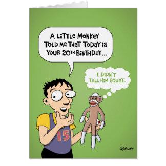 20th Birthday Funny Greeting Card