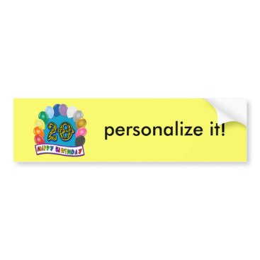 birthday 20th Birthday Gifts with Assorted Balloons Design Bumper Sticker