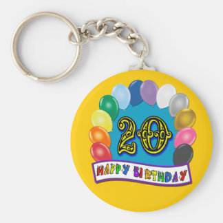 20th Birthday Gifts with Assorted Balloons Design Keychain