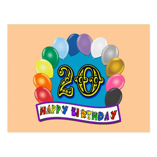 20th Birthday Gifts With Assorted Balloons Design Postcard