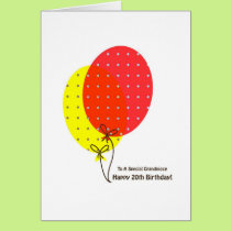 20th Birthday Grandniece Cards, Colorful Balloons Card