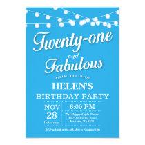 20th Birthday Invitation Blue Fabulous