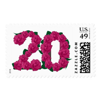 20th birthday invitation pink rose floral postage