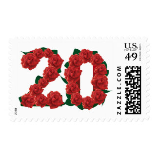 20th birthday invitation red rose floral postage