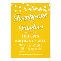 20th Birthday Invitation Yellow Fabulous