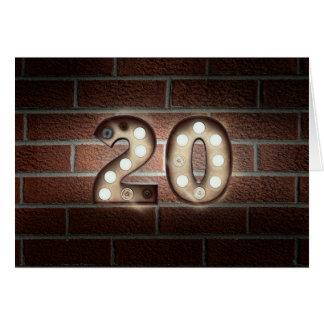 20th birthday-marquee lights on brick wall card