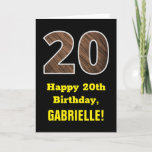 "[ Thumbnail: 20th Birthday: Name, Faux Wood Grain Pattern ""20"" Card ]"