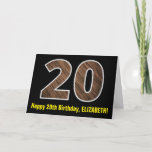 "[ Thumbnail: 20th Birthday: Name + Faux Wood Grain Pattern ""20"" Card ]"