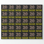 "[ Thumbnail: 20th Birthday: Name & Faux Wood Grain Pattern ""20"" Wrapping Paper ]"