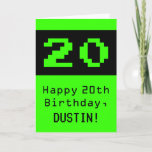 "[ Thumbnail: 20th Birthday: Nerdy / Geeky Style ""20"" and Name Card ]"