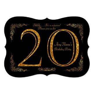 20th,Birthday party 20th,great Gatsby,black & gold Card