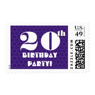 20th Birthday Party Big Bold Purple White W1220 Postage