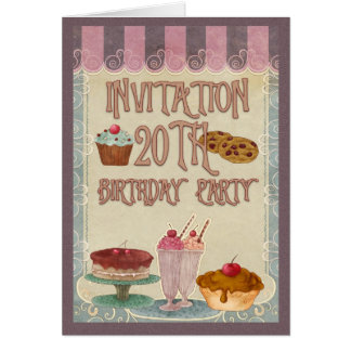 20th Birthday Party - Cakes, Cookies, Ice Cream Greeting Card
