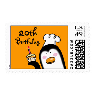 20th birthday party cupcake (penguin chef) postage