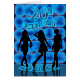 20th Birthday Party Invitation, Blue Neon With Dan Card