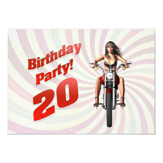 20th birthday party with a girl on a motorbike card