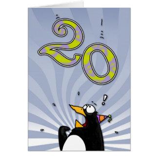 20th Birthday - Penguin Surprise Card